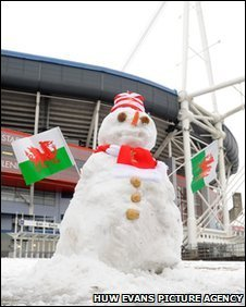 A snowman outside the Millennium Stadium
