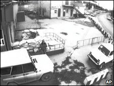 Security camera footage showing police jeep blocking a car packed with explosives from entering the Makhachkala traffic police station, Dagestan, 6 January 2010