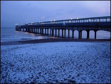 Snow on the beach by Boscombe Pier