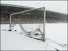 A snow-bound football pitch