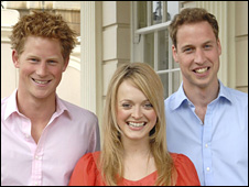 Fearne Cotton with Prince Harry and Prince William
