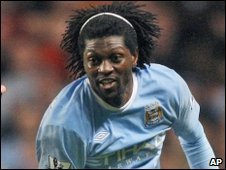 Emmanuel Adebayor was uninjured