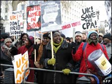 Campaigners for peace in Sudan opposite Downing Street