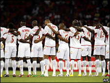 Mali team observes a minute's silence