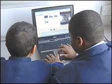 Pupils using a laptop