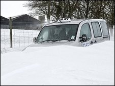 A taxi abandoned in the snow near Deal. Photo by Tony Flashman