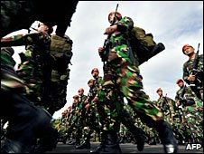 Archive photo of Indonesian soldiers at a military parade, June 2006