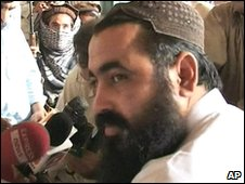 Baitullah Mehsud giving a TV interview in Kotkai, Pakistan tribal areas