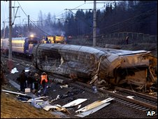 Bombed St. Petersburg-Moscow express train