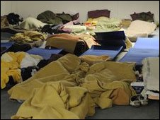 Mattresses and sleeping bags at St Mungo's emergency shelter