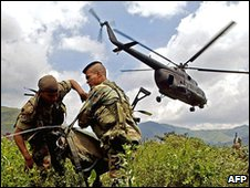 Colombian troops being airlifted for an operation against Far rebels, 2005