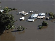 Flooded village in Suriname