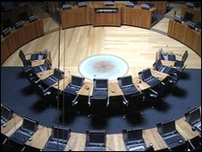 The debating chamber of the Senedd at the National Assembly for Wales, Cardiff Bay