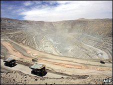 Archive photo of the Chuquicamata copper mine, 2005