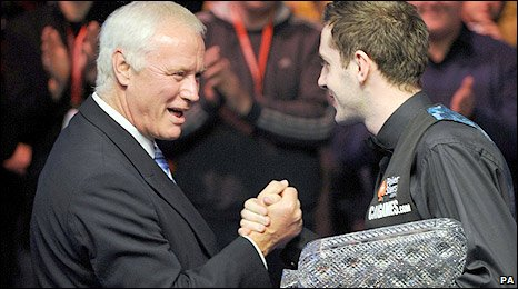 Barry Hearn congratulates the new Masters champion Mark Selby