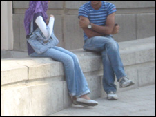 A young couple in Cairo University