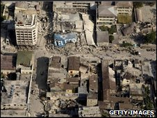 An aerial view of damage to central Port-au-Prince, 13 January