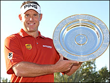 Lee Westwood with the European Tour Players� Player of the Year Award