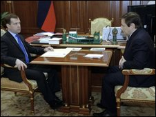 Russian President Dmitry Medvedev with his new envoy to the North Caucasus Alexander Khloponin