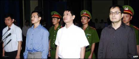 Democracy activists (L-R) Tran Huynh Duy Thuc, 43, Nguyen Tien Trung, 26, Le Thang Long, 42, and Le Cong Dinh, 41, on trial