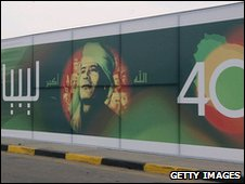 Mural celebrating 40 years of Colonal Gadaffi in power in August 2009