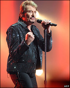 "Johnny Hallyday, who has been described as the ""French Elvis Presley"""