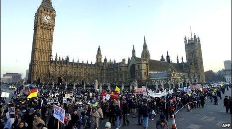Tamils protesting in London in 2009