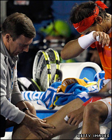 Rafael Nadal needed treatment at the start of the third set
