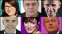 Top row: Jana Bennett, Mark Lawson, Evan Davis Bottom Row: Peter Horrocks, Fiona Bruce, Shaun Woodward