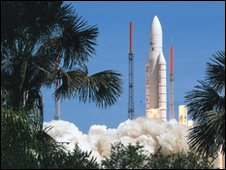 European rocket Ariane 5 is launched from Kourou in December 2009