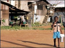 A child in the Cali slum, Cayenne