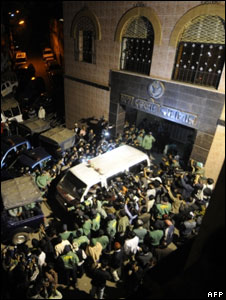 Ambulances leave the central prison with the dead bodies of the five killers of Mujibur Rahman on January 27, 2010