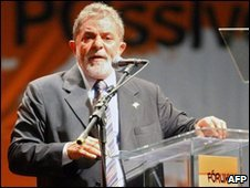President Lula speaks at the World Social Forum in Porto Alegre on 26 January