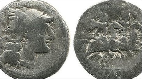 Roman silver coin dating from 211 BC and found near the Leicestershire village of Hallaton