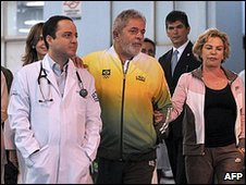 President Lula leaves the heart clinic in Sao Paulo, Brazil