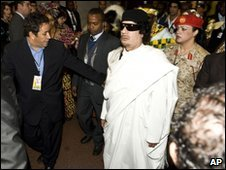 Libyan leader Muammar Gaddafi arrives for AU meeting