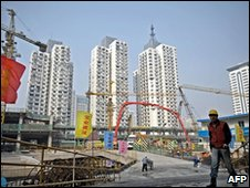 Chinese worker at the building site of a property development project in Shanghai