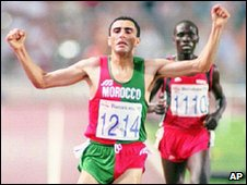 Khalid Skah wins Olympic gold medal, Barcelona 1992