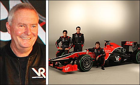 Virgin team boss John Booth, and the car and drivers