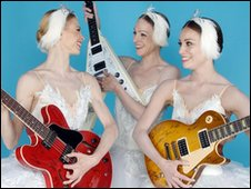 Members of the English National Ballet pose with three Gibson guitars