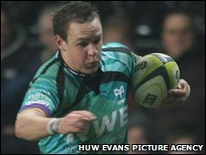 Ospreys wing Hanno Dirksen races away for the game's first try