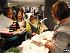 Unemployed people at a jobs fair in Los Angeles