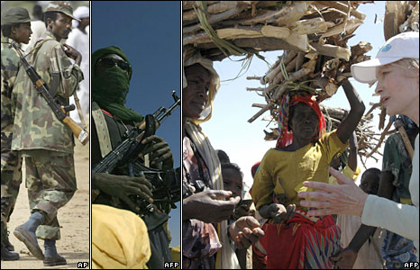 Sudanese soldiers in Darfur (left - AP), Darfuri rebel (centre - AFP), Mia Farrow speaking to displaced women in Kalma camp in 2004 (Right - AFP)