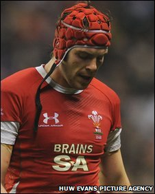 Wales lock Alun Wyn Jones trudges off after his sin-binning against England