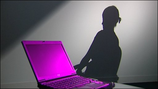 A graphic of a girl and a computer
