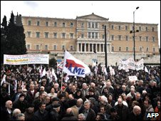 Demonstrators in front of the Greek Parliament in Athens