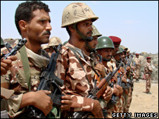 Yemeni troops pictured 12 Feburary 2010