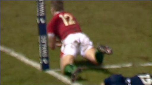 Scott Williams thinks he has scored a scintillating try for Wales Under-20