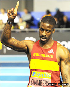 Dwain Chambers celebrates after winning the men's 60m final