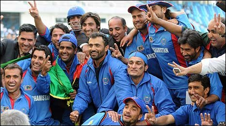 Afghanistan celebrate after defeating Ireland in the final